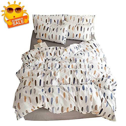 BuLuTu Feather Duvet Cover Set Queen Kids White Cotton,Lightweight 3 Pieces Reversible Teen Boys Girls Bedding Sets Full Size with Zipper Closure,Women Men Duvet Cover Queen Size,No Comforter ()