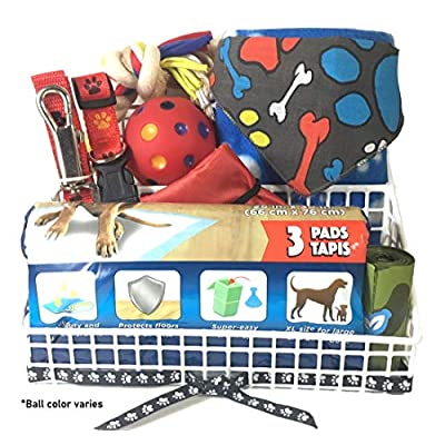 9-Pc-Dog-Gift-Basket-for-Sm-to-Med-Dog-Includes-Red-Paw-Print-Collar-and-Leash-Set-30-x-21-Paw-Print-Blanket-Bandana-2-Toys-Folding-Travel-Bowl-Three-Pet-Pads-and-Waste-Bag