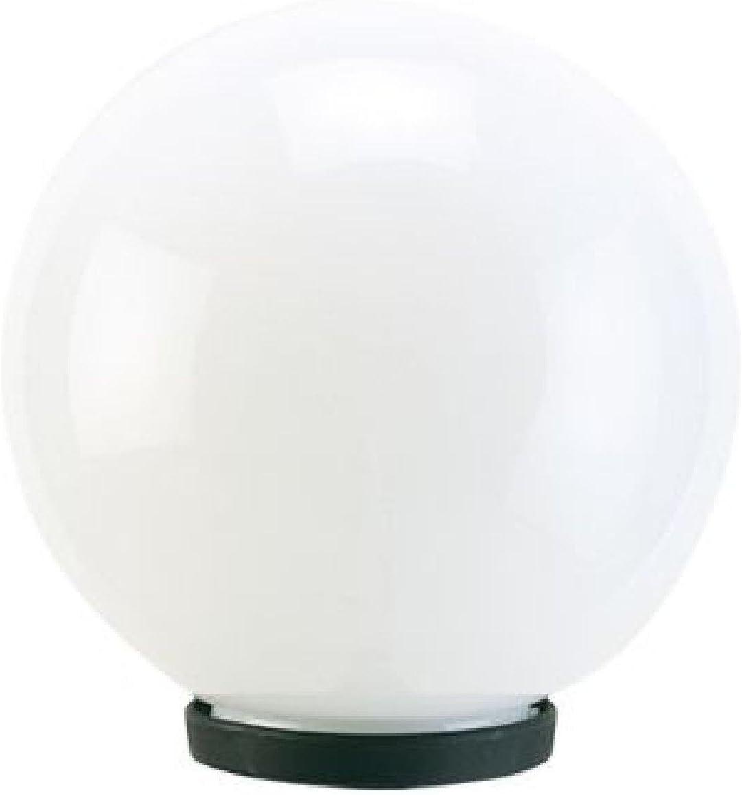 Farol para palo 'globo' estructura de termoplástico. Apta para lámparas ad Incandescenza y a bajo consumo. Casquillo portalámparas E27, IP44. Casquillo a columna de diámetro 60mm. Solo cuerpo Farol,