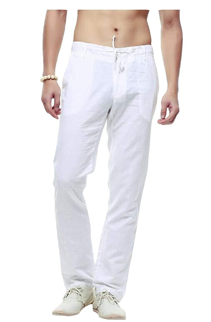 Etecredpow Men Elastic Waist Solid Chinese Style Drawstring Cotton Pants