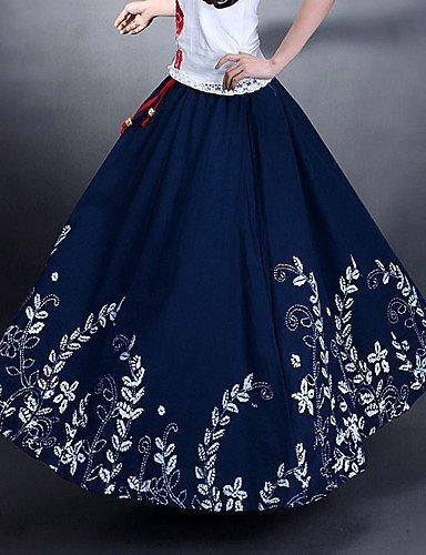 GSP-Frühlings-und Herbst-Baumwolle und Hanf Lässige Vintage-elastische Taillen-Frauen-Maxi Sun Röcke