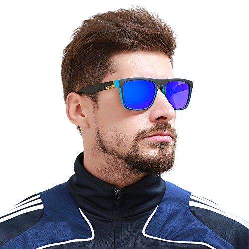 K KDEAM Square Polarized Sunglasses For Mens Womens Unisex Running Sports 80'S Classic Vintage Retro UV400 Mirrored Shades Sun Glasses With Case (USKD9001/C1BlackBlue)