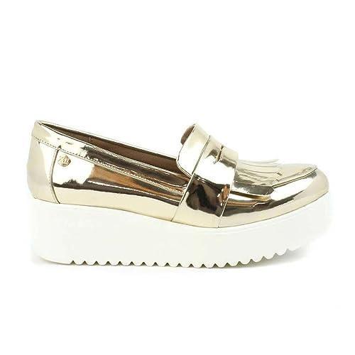 Zapato DE Mujer XTI Plano Doble Piso Oro: Amazon.es: Zapatos y complementos