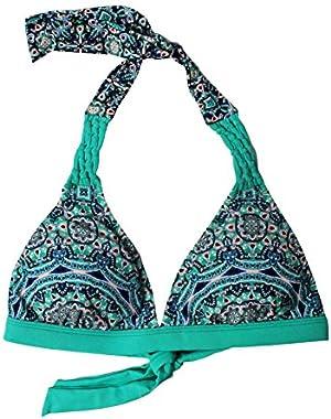 Jessica Simpson Womens Macrame Banded Bikini Top Moss M
