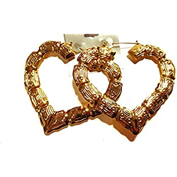 Amazon.com: Bamboo Heart Hoop Earrings Gold Tone Earrings 3.5 Inch ...