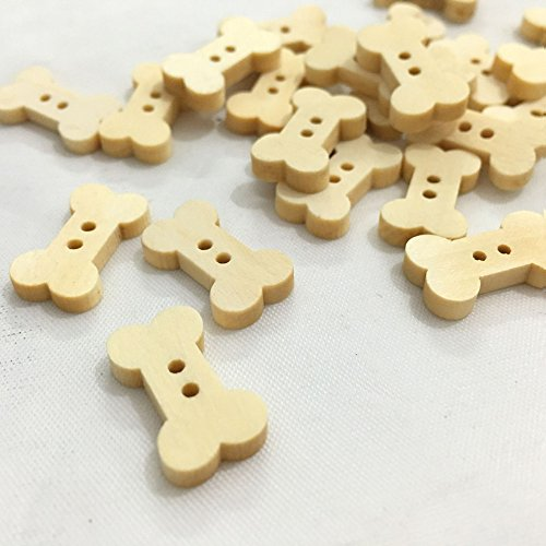 OZXCHIXU (TM) 100 Pcs 1.8cm Dog Bone 2 Holes Wooden Buttons , for Sewing, Scrapbooking Crafts ,2 Holes