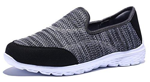Krystory Performance Athletic Women's Walking Shoes Slip-On Lightweight Comfortable Casual Sneakers, Grey, 7.5 B(M) US