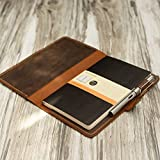 """Distressed Leather Moleskine Classic Cover Larger size,5 x 8.25"""" Notebook Cover, portfolio Agenda Cover Diary Cover, 307M"""