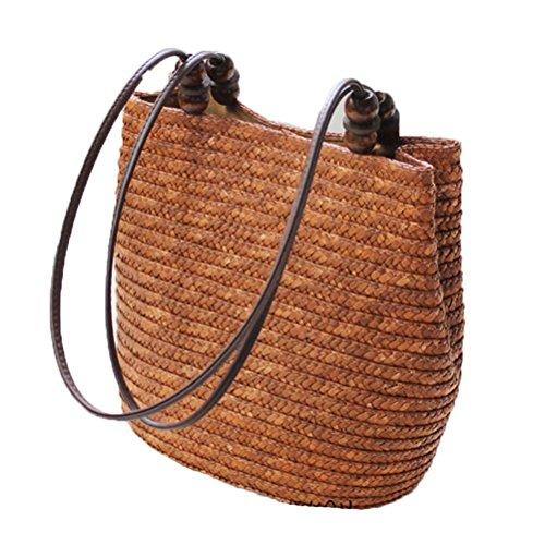 Donalworld Girl Summer Bucket Woven Bag Beach Tote Vacation Straw Handbag Coffee