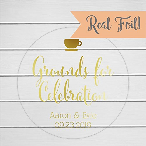 - Grounds for Celebration Foiled Clear Transparent Coffee Tea Wedding Favor Stickers (#092-CF)