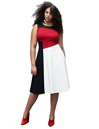 501098e16aef Lane Bryant Colorblock Fit & Flare Dress by Prabal Gurung(28) at Amazon  Women's Clothing store: