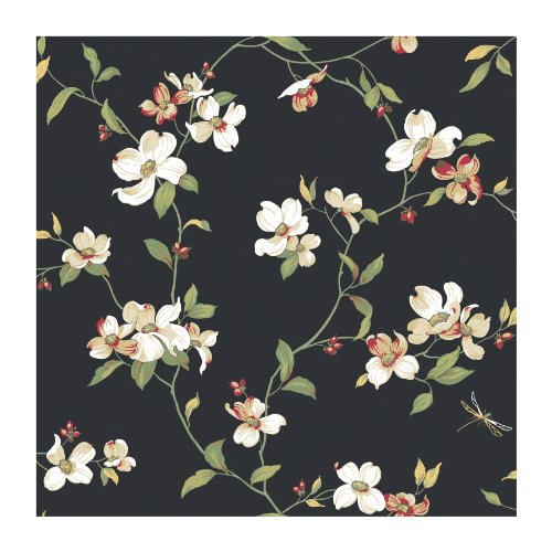 York Wallcoverings Ashford House Blooms Dogwood Removable Wallpaper, Blacks