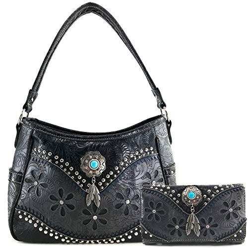 - Justin West Cowgirl Leather Cut Concealed Carry Feather Concho Country Vintage Western Handbag Purse Wallet Set (Space Black)