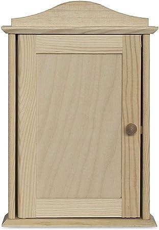MFZJ Caja de Pared para gabinete con Llave de Madera Creative Deco | 6 Ganchos | 20 x 6 x 29,5 cm | Sin Pintar Almacenamiento, decoración y decoupage: Amazon.es: Hogar