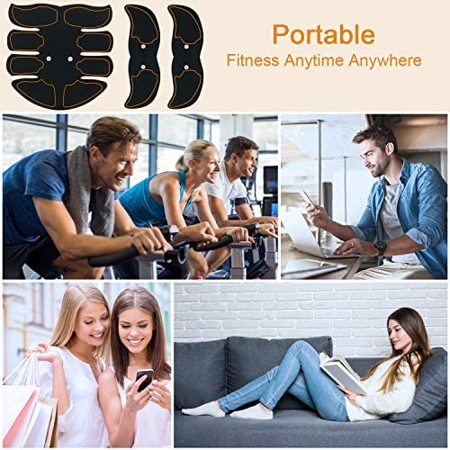 SPORTLIMIT Abs Stimulator, Wireless Portable Fitness Workout Equipment for Men Woman Abdomen/Arm/Leg Home Office Exercise,10pcs Free Gel Pads 6