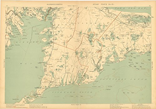 Historic Pictoric Map | Atlas of Massachusetts, Barnstable & Bourne & Cape Cod & Falmouth & Mashpee & Sandwich 1904 Plate 012 | Vintage Poster Art Reproduction | 24in x 18in (Cod Cape Falmouth)