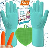 Magic Silicone Dishwashing Gloves Scrub   with Small Silicon Soft Hand Washing Brush Sponge Scrubber for Scrubbing, Rubber Glove for Cleaning,Home,Dish Wash,Dishes,Kitchen,Pet