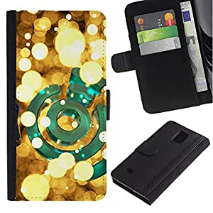 Paccase / Billetera de Cuero Caso del tirón Titular de la tarjeta Carcasa Funda para - lights yellow green bright golden night - Samsung Galaxy Note 4 SM-N910