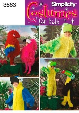 Macaw Costumes (Simplicity 3663 Sewing Pattern makes Kids Bird Costumes Parrot Macaw Toucan More makes sizes 3-8)