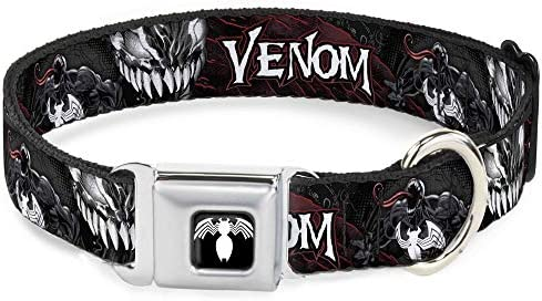 Dog Leash Venom Pose Expression Gray Black Red White 4 Feet Long 0.5 Inch Wide