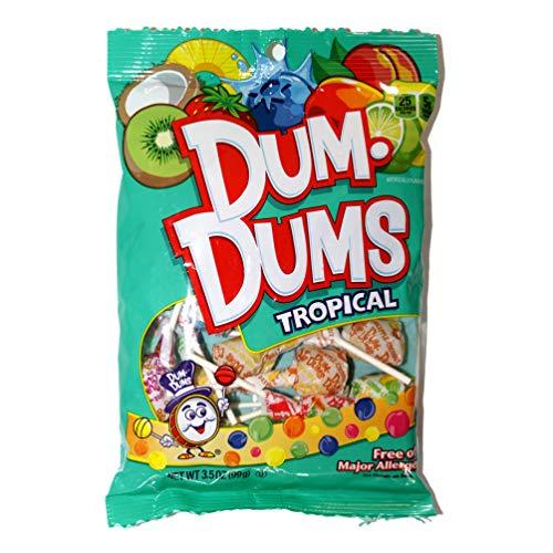 Dum-Dums (1) bag Tropical Assorted Flavors Lollipop Candy - Free of Major Allergens 3.5 oz ()