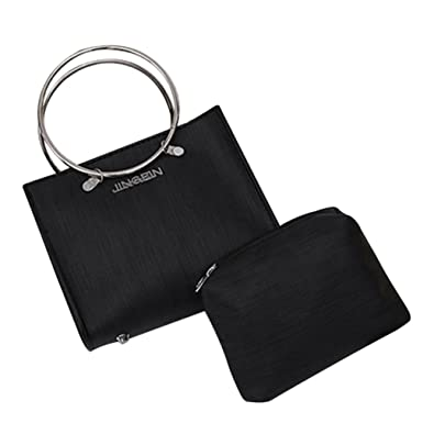 c63ade718e HCFKJ 2Pcs Women fashion Chain Shoulder Metal Round Ring Handle Tote Bag +  Ladies Purses Wallet