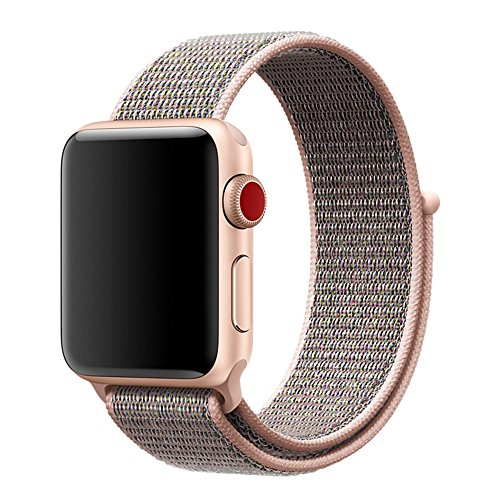 For Apple Watch Band 42mm Soft Woven Nylon Watch Sport Loop Band Breathable Replacement iWatch Band with Adjustable Closure for Apple Watch Nike+ Series 3 2 1,Pink Sand