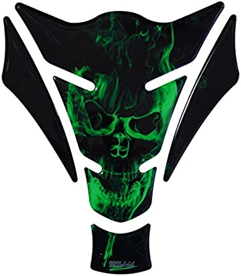 R1200GS 3d – 500157 – Ghost Green Diseño de Calavera/llamas verde – universal para Yamaha, Honda, DUCATI, SUZUKI, KAWASAKI, KTM, BMW, Triumph y ...