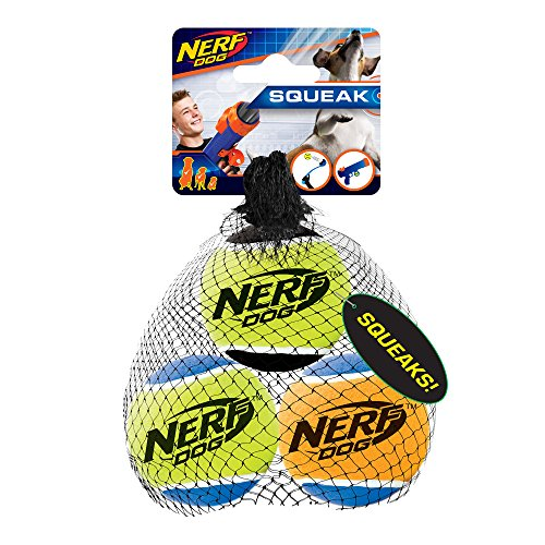 Nerf Dog 2.5in Squeak Tennis Ball 3-Pack: Blue/Green Blue/Orange and Green/Black, Dog Toy