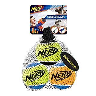 Nerf Dog Tennis Ball Dog Toy with Interactive Squeaker, Lightweight, Durable and Water Resistant, 2.5 Inches, for Small/Medium/Large Breeds, Three Pack, Assorted Colors