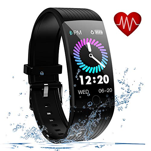 Fitness Tracker, Activity Tracker with Heart Rate Monitor, 1.14 inch Fitness Watch with Sleep Monitor IP68 Waterproof, Step Counter Pedometer SMS Push Smart Watch for iOS Android Phone (Black)