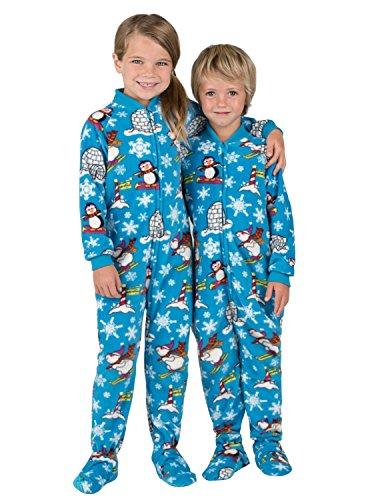 - Footed Pajamas Family Matching Winter Wonderland Toddler Fleece Onesie - Large Blue