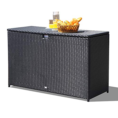 Orange Casual Patio Aluminum Frame Resin Wicker Storage Bin Deck Box 140-Gal (Black)