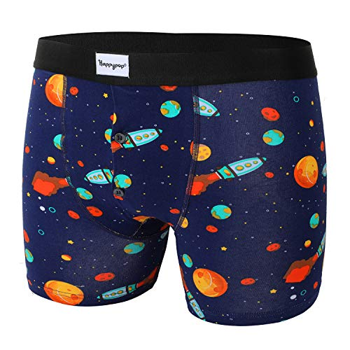 Mens Pouch Boxer Briefs Premium Cotton Button Fly Underwear, Rocket Solar Printed Trunks with Gift -