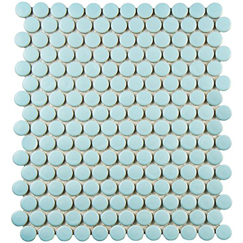 SomerTile FXLMPML Retro Penni Matte Light Porcelain Floor and Wall Tile, 9.875