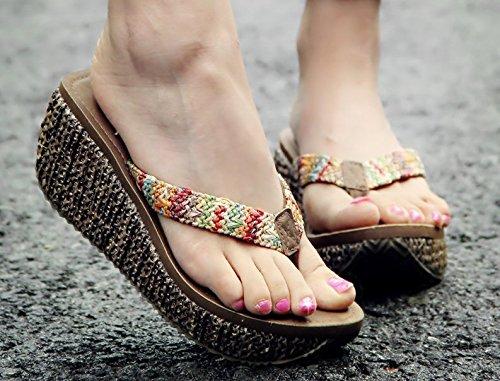 AWXJX Tongs Femme Chaussures été Usure extérieure fond épais talon haut bord de mer pincée Pink 7.5 US/38 EU/5 UK BrownB 7cm ZvBgwepi