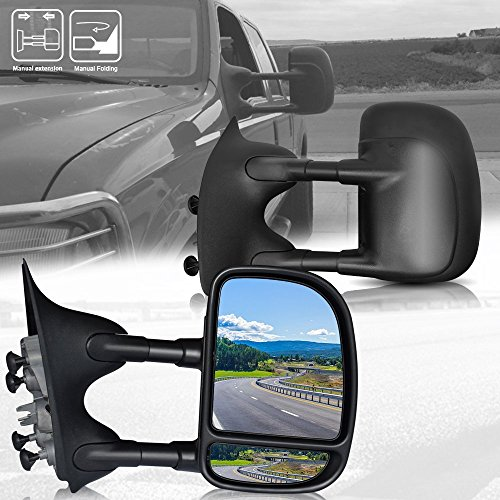 F250 Pickup Mirror - TURBOSII DOT Approved Black Rear Tow Mirrors Pair View Side Mirrors Towing Mirrors for Pickup Truck 1999-2007 Ford F250 F550 Super Duty