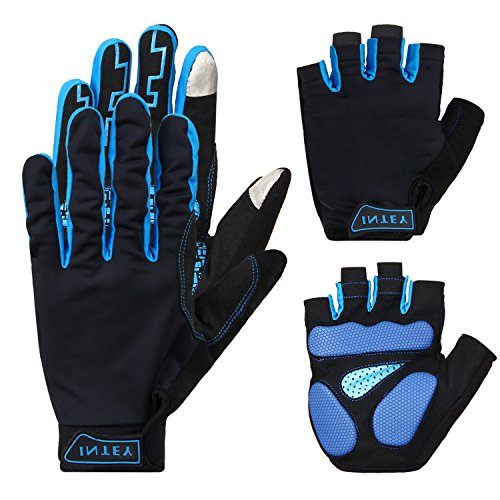 INTEY Bike Gloves Half/Full Finger 2 Pack With Thickened Gel Pad & Touch Screen Fabric, Ultra Light (L)