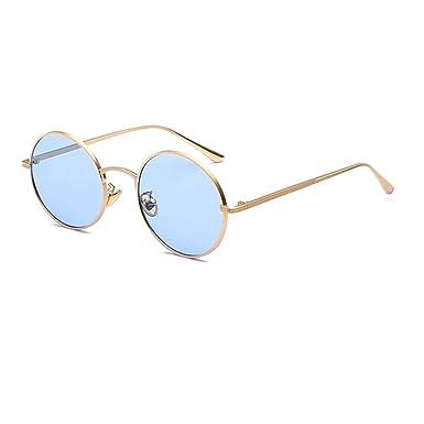 Inlefen Verres à monture ronde en métal Lunettes de soleil Vintage Circle pour hommes et femmes m409H