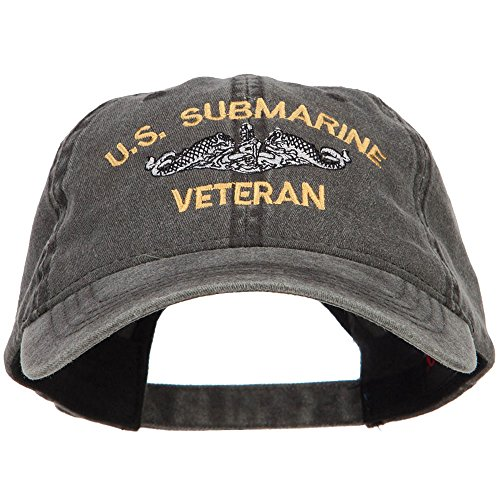 E4hats US Submarine Veteran Military Embroidered Washed Cap - Black OSFM