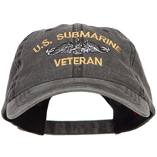 e4Hats.com US Submarine Veteran Military Embroidered Washed Cap - Black OSFM