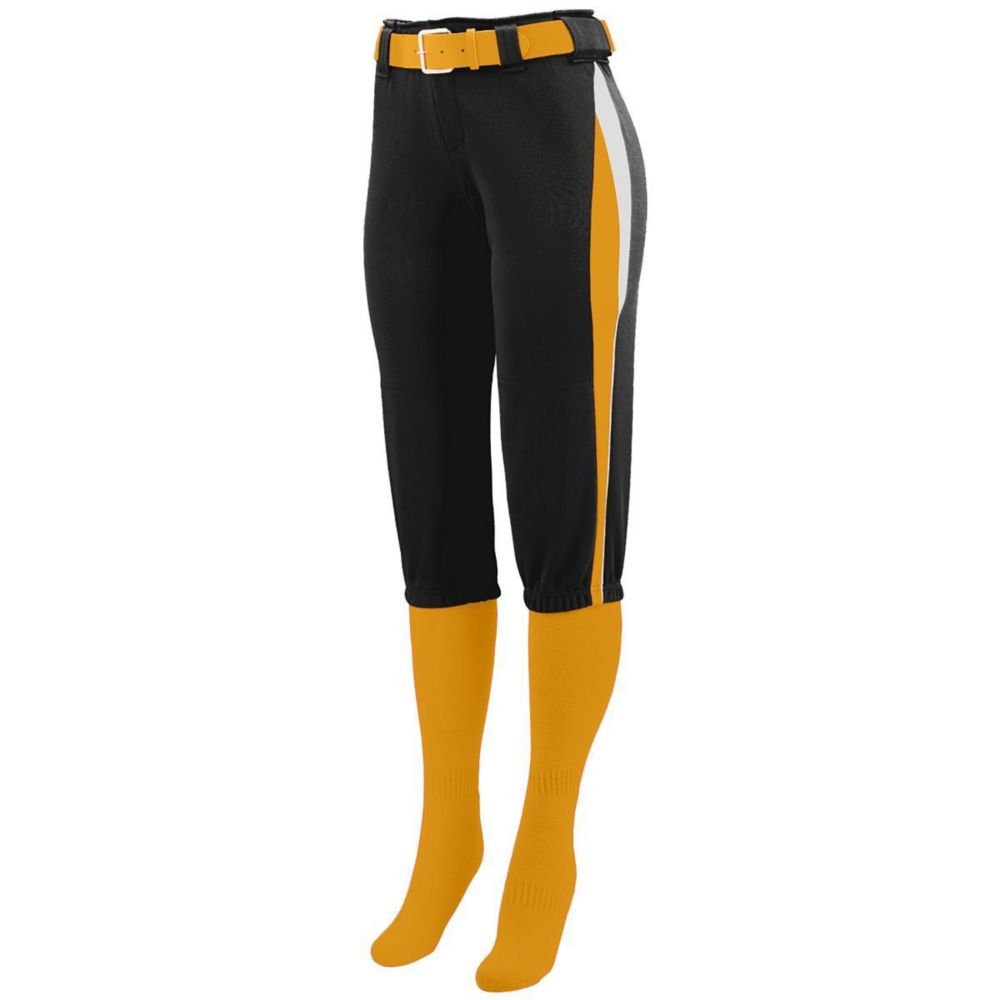Augusta Activewear Girls Comet Pant, Black/Gold/White, Small