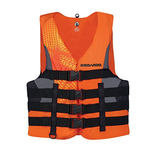 New BRP Sea-Doo Men's Nylon Motion PFD Life Vest Jacket-Adult X Large-Orange by Motion PFD