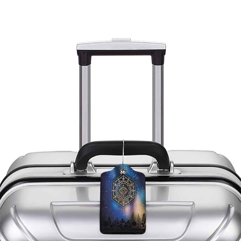 Small luggage tag Sacred Geometrty Decor Hexagon Form with Eye Icon in Centre on Starry Night Mystic Image Quickly find the suitcase Gold Blue W2.7 x L4.6