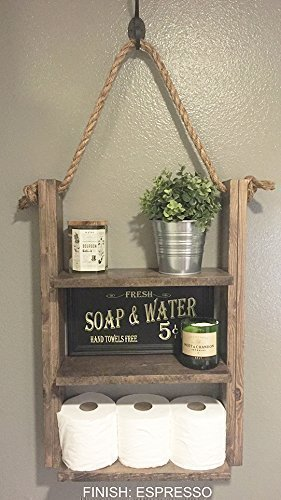 "Rustic Hanging Shelf with Rope - 25"" High 18"" Wide (Shelves - 15"") 5.5"" Deep - Choose finish"