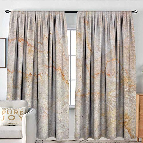Sillgt Marble Blackout Window Curtain Mine Pattern Design Natural Fractures Realistic Stained Surface Art Print Insulated with Curtains for Bedroom W 96