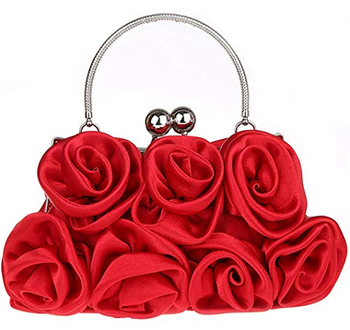 Floral for Handbag 5 Shoulder Bag 16cm with Banquet Red Bag Women Metallic EDLUX Party 20 Ladies Red Evening Buckle Shape Silk X1wUqZg
