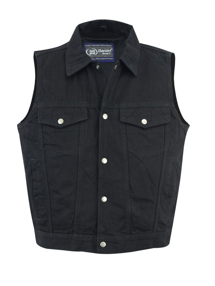 Daniel Smart MEN'S RIDING BLACK DENIM VEST, SNAP FRONT SHIRT COLLAR LIGHTWEIGHT UNBEATABLE $$ (3XL Regular) by Daniel Smart
