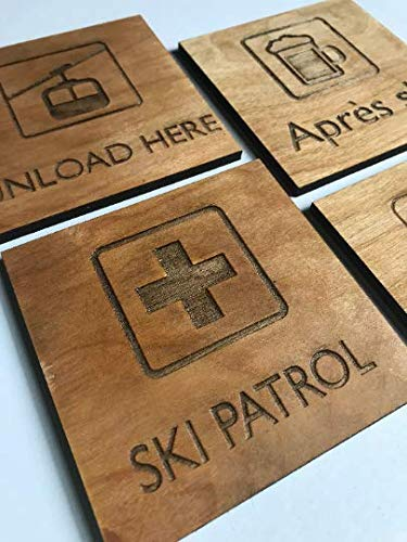 Mountain Ski Chalet Set of 4 Wood Coasters | Experts Only, Unload Here, Ski Patrol, Apres Ski | Winter Sports Snowboard Present