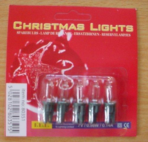 5 Clear Push In Spare Bulbs for Fariy Lights 7v 0.98w 0.14a (S39)